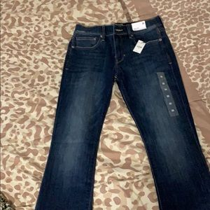 Express 6 regular height barely boot jeans.